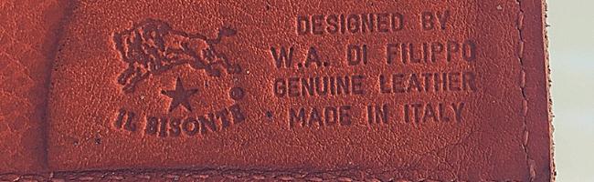 イルビゾンテの財布に刻印されたロゴマーク