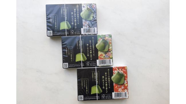 ピノ宇治抹茶味のパッケージ3種類の裏面