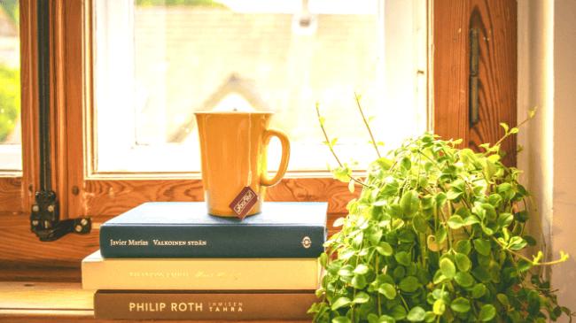 副業をする作業部屋の窓際に置かれたコップと本と植物