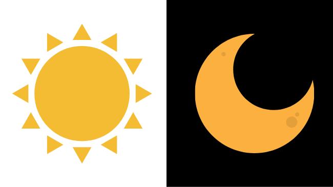 まとまった時間の朝と夜を承知する太陽と月のアイコン