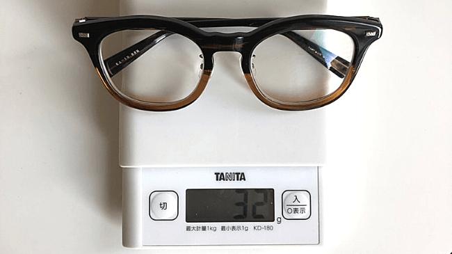 金子眼鏡のKA-18を測りで計測したところ