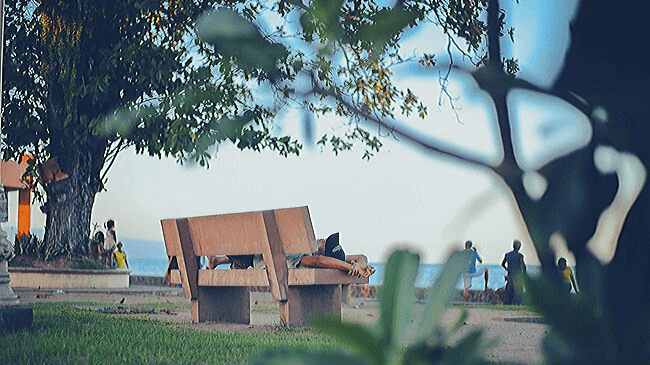 仕事の休憩時間に公園で寝ている人