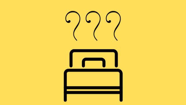 部屋が臭い原因がベッドであることをイメージしたイラスト