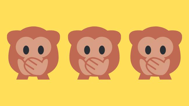 自慢話をしてうざいと感じさせないため、口を押さえている3匹の猿