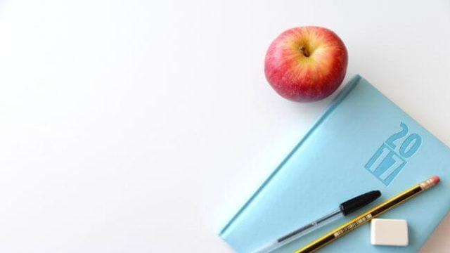 仕事を休まない人のランチ(りんご)とスケジュール帳