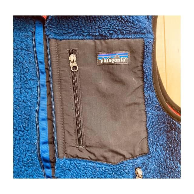 パタゴニアのフリースベスト(レトロX)のジッパー式の前ポケット