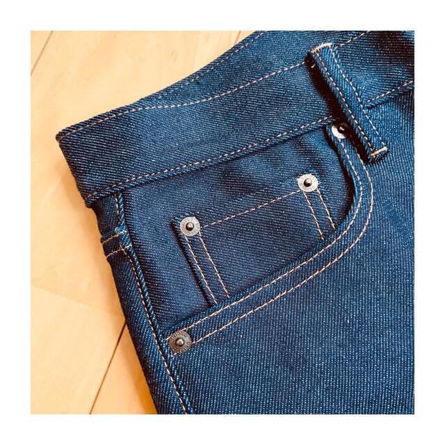 ストレッチセルビッジスリムフィットジーンズのサイドポケット