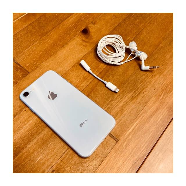 iphoneとイヤホン変換器とイヤホン本体