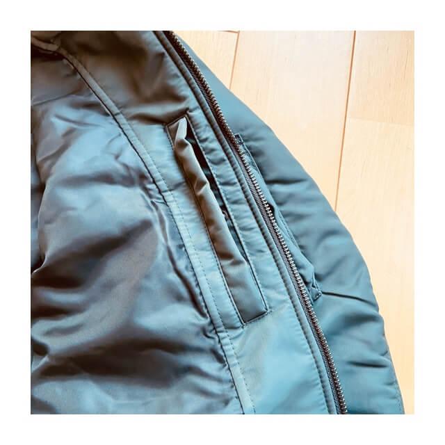 ユニクロのMA-1ブルゾンの隠れポケット