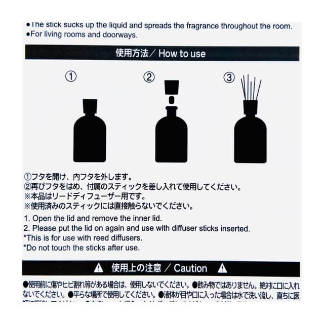 ダイソーのブラックディフューザーのパッケージに記載されている使い方の画