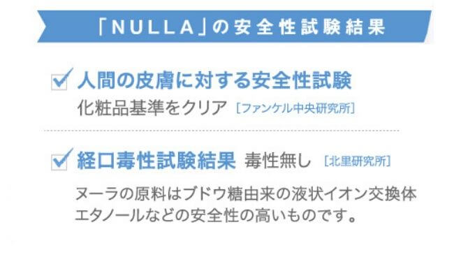 NULLAノ安全性試験の結果