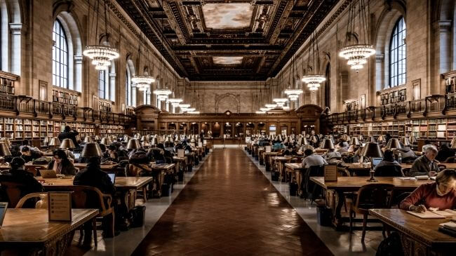 古典が多く取り添えられた図書館