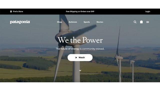 パタゴニアの環境に対する責任を感じさせる公式サイト